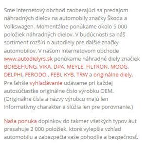 autodielyrs.sk - mobilná verzia