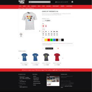 shirtfan.sk - stránka produktu