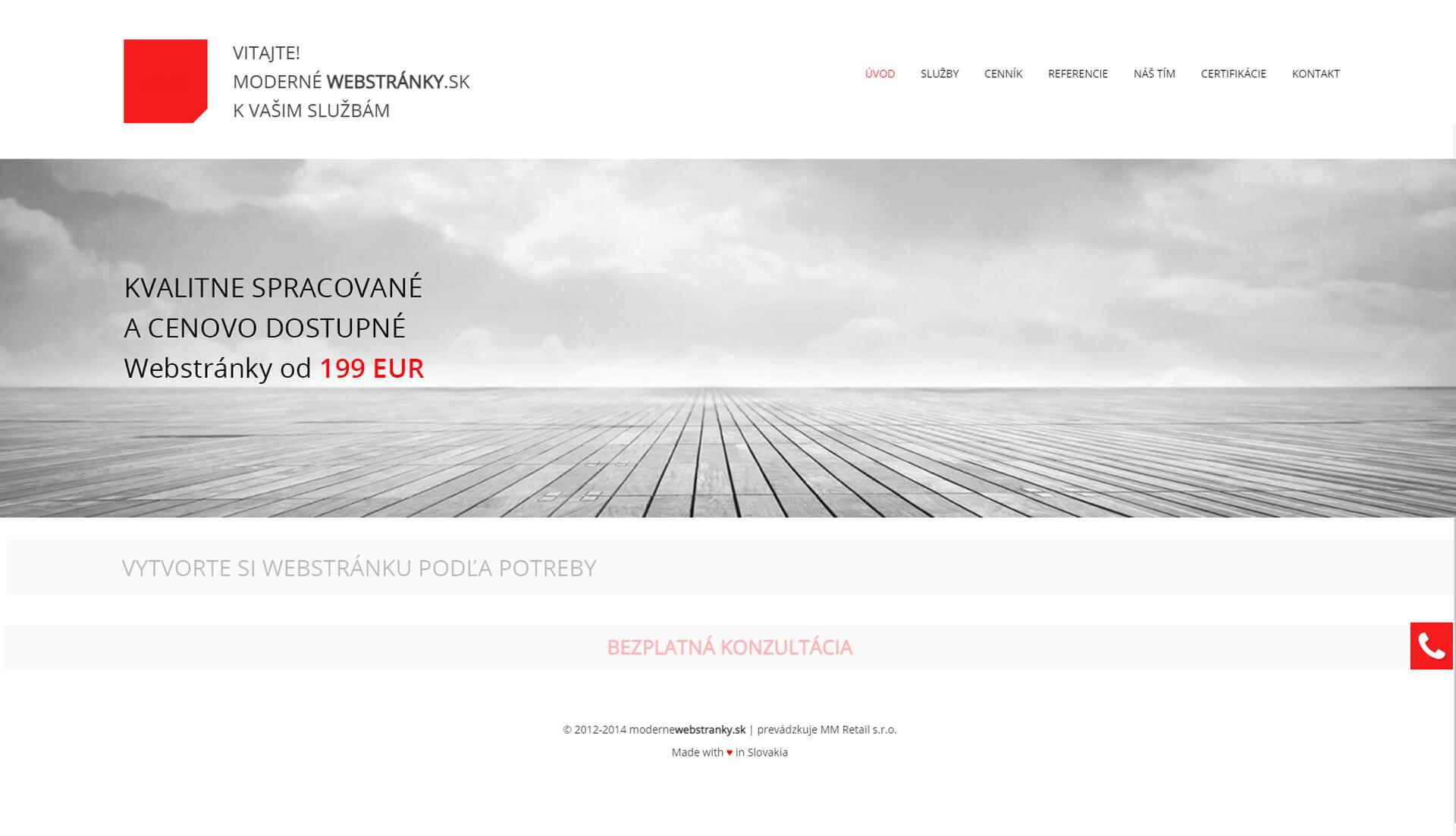 Moderné webstránky stará verzia webstránky 1.0