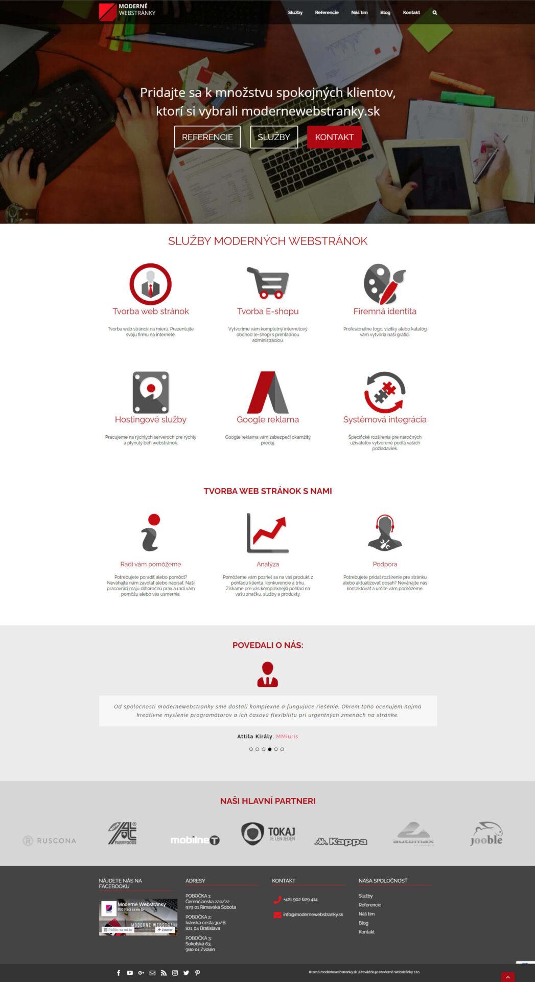 Moderné webstránky verzia 2.0 - domovská stránka