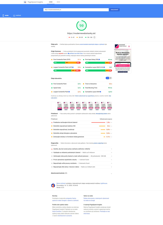 PageSpeed mobil - rýchlosť modernewebstranky.sk